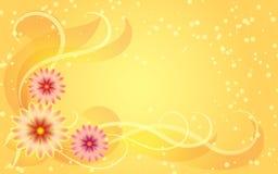 Ornement floral sur le fond jaune Photographie stock