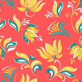 Ornement folklorique russe floral de fleurs lumineuses bel avec l'oiseau Illustration de vecteur Fond sans couture de modèle illustration de vecteur