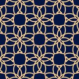 Ornement géométrique bleu d'or Configuration sans joint Photographie stock