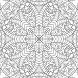 Ornement incurvé par mehndi de filigrane Motif ethnique, texture harmonieuse binaire monochrome de griffonnage Rebecca 36 Vecteur Photographie stock libre de droits