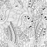 Ornement incurvé par mehndi de filigrane Motif ethnique, texture harmonieuse binaire monochrome de griffonnage Rebecca 36 Vecteur Photographie stock