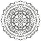 Ornement incurvé par mehndi de filigrane Motif ethnique, texture harmonieuse binaire monochrome de griffonnage Rebecca 36 Vecteur Images stock