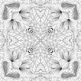 Ornement incurvé par mehndi de filigrane Motif ethnique, texture harmonieuse binaire monochrome de griffonnage Rebecca 36 Vecteur Photos libres de droits