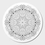 Ornement incurvé par mehndi de filigrane Motif ethnique, texture harmonieuse binaire monochrome de griffonnage Rebecca 36 Vecteur Images libres de droits