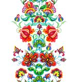 Ornement lunatique d'art populaire - frontière florale sans couture avec les fleurs féeriques Ligne d'aquarelle Illustration de Vecteur