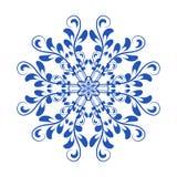 Ornement national russe floral de vecteur bleu dans le style Gzhel Photographie stock libre de droits
