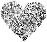 Ornement noir abstrait de Paisley dans la forme de coeur, sur le petit morceau Photos stock