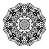 Ornement noir de mandala rond avec le modèle traditionnel illustration libre de droits