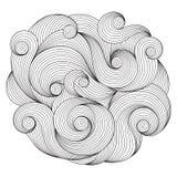 Ornement noir et blanc de vague de cercle, desi rond ornemental de dentelle illustration libre de droits