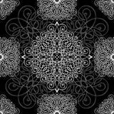 Ornement noir et blanc, modèle sans couture, fond de vecteur Armure en osier blanche sur un fond noir, monochrome Photographie stock