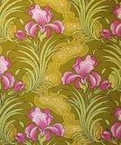 Ornement original de tissu de textile d'Iris Flowers La cruche est peinte à la main avec la gouache Illustration de Vecteur