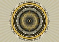 Ornement rond avec les perles et les éléments argentés d'or Image stock