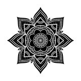 Ornement rond décoratif tiré par la main noir d'isolement sur le blanc Photos stock