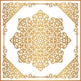 Ornement rond d'or de vintage dans le cadre carré Image stock