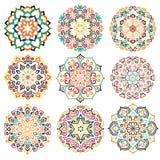 Ornement rond Mandala Set de fleur Photo stock