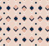 Ornement rose et bleu de vecteur de répétition géométrique de places avec les points diagonaux Modèle moderne abstrait sans coutu Photo libre de droits