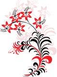 Ornement rouge et noir de fleur Photographie stock libre de droits