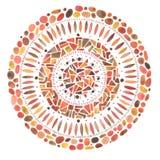 Ornement rouge tiré par la main de mosaïque de mandala d'aquarelle Photographie stock