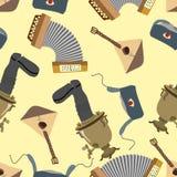 Ornement Russie Balalaïka et samovar, Ushanka et accordéon Fond sans couture de modèle illustration stock