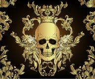 Ornement sans couture baroque Modèle de style de damassé avec le crâne Conception fleurie de cru pour le papier peint, emballage illustration libre de droits