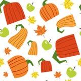Ornement sans couture d'Autumn Harvest Concept Season Fall de fond de modèle de potiron Image stock