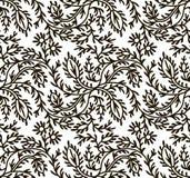 Ornement sans couture noir et blanc, motifs de feuilles Photographie stock