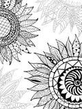 Ornement tiré par la main de tournesols de zentangle pour livre de coloriage Images libres de droits