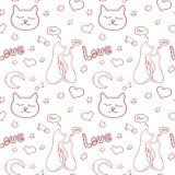 Ornement tiré par la main de vecteur avec des chats et des éléments romantiques Concept de jour de Valentines Photo stock