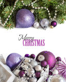 Ornements argentés et pourpres de Noël Images libres de droits