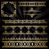 Ornements décoratifs de vintage d'or - ensemble Image libre de droits