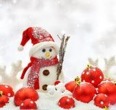Ornements de bonhomme de neige et de Noël Image libre de droits