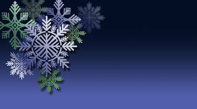 Ornements de flocon de neige de Noël sur le fond bleu Images libres de droits