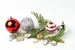Ornements de Noël billes Jouets Le père noël ; Bougies ; Cadeaux ; Photographie stock