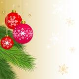 Ornements de Noël s'arrêtant sur un arbre de Noël illustration stock