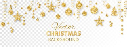 Ornements de scintillement de scintillement de Noël Frontière d'or de fiesta Guirlande de fête avec les boules et les rubans accr illustration de vecteur