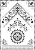 Ornements et coin noirs de calligraphie sur le fond blanc Photos libres de droits