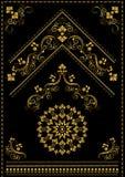 Ornements et coin orientaux de calligraphie d'or sur le fond noir Photographie stock