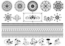 Ornements et frontière ronds noirs de calligraphie sur le fond blanc Photos stock