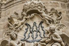 Ornements et sculptures de style gothique, art antique espagnol Images stock