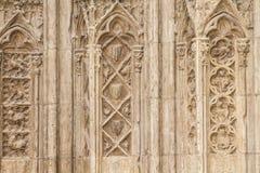 Ornements et sculptures de style gothique, art antique espagnol Images libres de droits