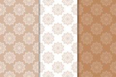 Ornements floraux de Brown Ensemble de modèles sans couture verticaux Image stock