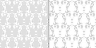 Ornements floraux gris-clair Ensemble de configurations sans joint Photos libres de droits