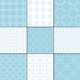 Ornements géométriques bleus et blancs Ramassage de configurations sans joint Photo stock