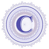Ornements géométriques de vecteur Rosettes de guilloche avec la lettre C Photo libre de droits