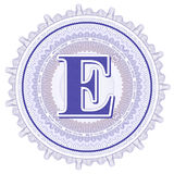 Ornements géométriques de vecteur Rosettes de guilloche avec la lettre E Image stock