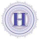 Ornements géométriques de vecteur Rosettes de guilloche avec la lettre H Photo stock