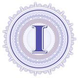 Ornements géométriques de vecteur Rosettes de guilloche avec la lettre I Photographie stock