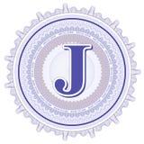 Ornements géométriques de vecteur Rosettes de guilloche avec la lettre J Photographie stock libre de droits