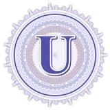 Ornements géométriques de vecteur Rosettes de guilloche avec la lettre U Images stock