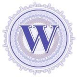 Ornements géométriques de vecteur Rosettes de guilloche avec la lettre W Images stock